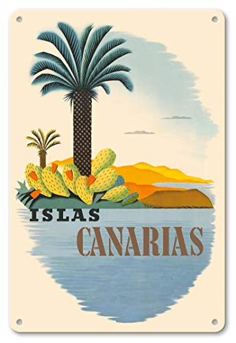 LHZJ Fashionable Islas Canarias (Canary Islands) - Palm Trees and CactusWall Sign 8X12 inches Metal tin Sign