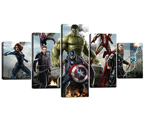 (5 Piece Miracle Avenger Era for Living Room Home Decor Superhero Captain America Iron Man Modern Painting Canvas Wall Art Poster for Kids Wall Decor Prints Framed Ready to Hang (60''W x 32''H))
