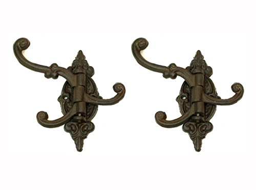 Cast Iron Vintage Antique Victorian Swing Arm Bracket Swivel Wall Hook Hall Tree Bracket with Three Hooks. Set of Two. 4.5 Inches Long By 5.75 Inches Tall By 3.5 Inches Wide