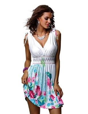 Jinhuanshow Women's Low Cut Floral Printed Summer Above Knee Sleeveless Dresses