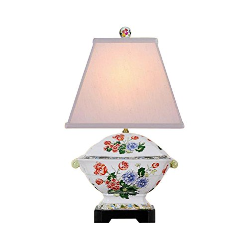 Cute Floral Chinese Porcelain Tureen Table Lamp 18.5
