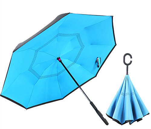 Blue inverted umbrella