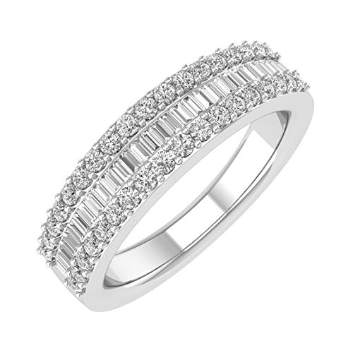 (10k White Gold Diamond Band Ring (1/2 cttw, H-I Color, I2-I3 Clarity))