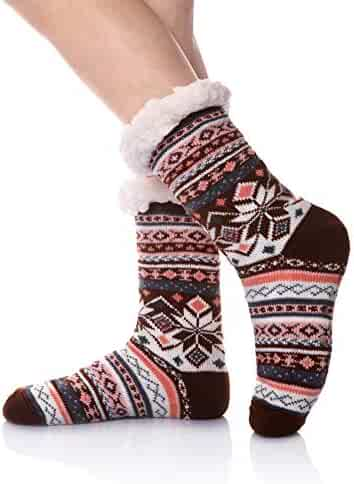 af0ae5b1f9f5 Velice Women s Super Warm Fleece Lining Christmas Knee Highs Stockings  Slipper Winter Socks