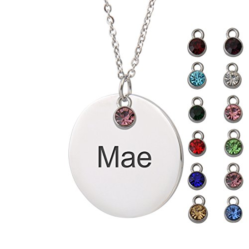 HUAN XUN Mae Name Name Necklace Angel Round Initial Necklace Personal Jewelry Birthday Valentine (Round Angel Name Pendant)