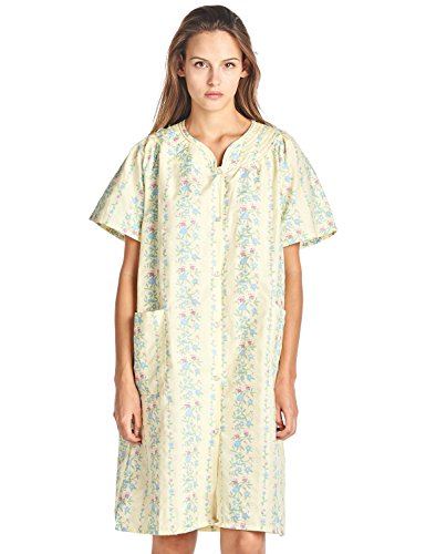 Casual Nights Women's Floral Woven Snap-Front Lounger House Dress - Yellow - XX-Large (Athletic Coat Cotton)