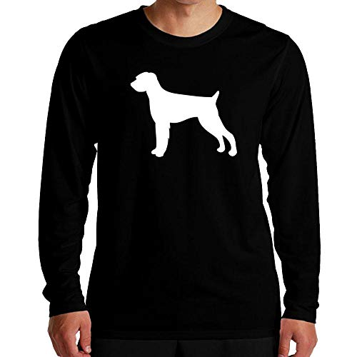 Idakoos German Wirehaired Pointer Silhouette Long Sleeve T-Shirt L Black