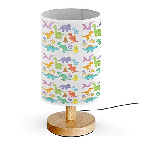 ARTSYLAMP - Wood Base Decoration Desk Table Bedside Light Lamp [ Dinosaurs Including Stegosaurus ] ()