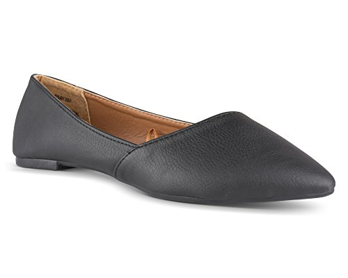 Twisted Womens Lindsay Slanted Front Almond Toe Flat - Black, Size 9 - Buckle Front Flat