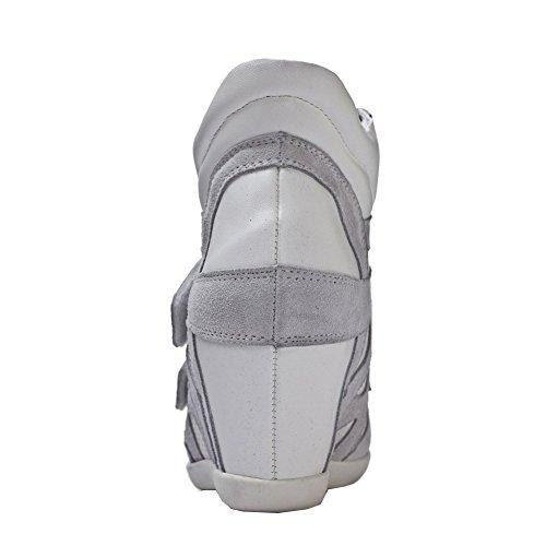 Shenn Mujer Gancho&Lazo PU Cuero Moda Cuña Zapatillas 8530 Gris