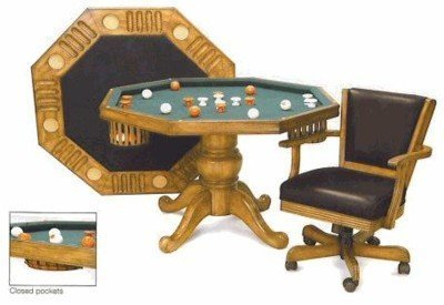 3 in 1 Game Table - Octagon 54'' Bumper Pool, Poker & Dining with 4 Chairs in Oak By Berner Billiards by Berner Billiards