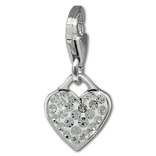 SilberDream Glitter Charm heart with white Czech Preciosa crystals 925 Sterling Silver Charms Pendant for Charms Bracelet, Necklace or Earring GSC581W