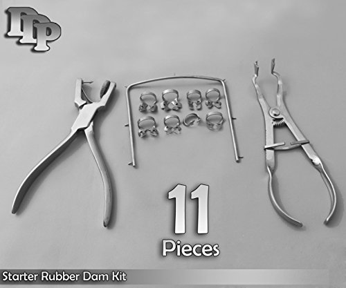 Starter Rubber Dam Kit of 11 Dental Instruments
