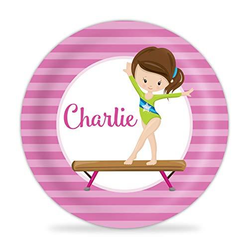 Gymnast Plate - Pink Stripe Gymnastic Girl Melamine Personalized Name Plate