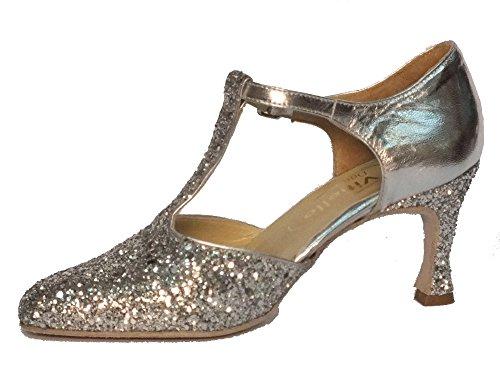 Argento Silver Shoes Argento Vitiello Cristallo Dance Women's Cristal Shoes Dance E Standard Argento Nappa T1gxB6
