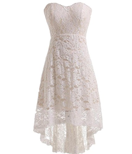 Miranda's Bridal Women's High Low Sweetheart Short Mini Lace Bridesmaid Dress Ivory US6 - Miranda Ivory Prom Dress