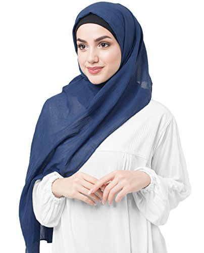 InEssence Classic Blue Cotton Voile Scarf Women Girls Wrap Medium Size ()
