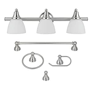 Globe Electric 5-Piece Estorial All-In-One Bath Set, Brushed Steel Finish, 3-Light Vanity with Frosted Glass Shades, Towel Bar, Toilet Paper Holder, Towel Ring, Robe Hook, 50700