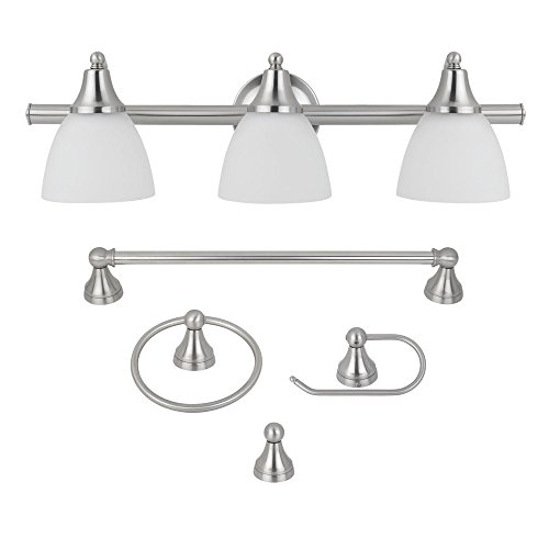 Globe Electric 5-Piece Estorial All-In-One Bath Set, Brushed Steel Finish, 3-Light Vanity with Frosted Glass Shades, Towel Bar, Toilet Paper Holder, Towel Ring, Robe Hook, 50700 (Bathroom Light Bars)