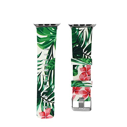 Aobiny for Apple Watch Series 1/2/3/4 Watch Band,Soft Silicone Floral Pattern Sport Strap Replacement Watchbands for Apple Watch Series 4/3/2/1 Bands Men Women 42/44mm