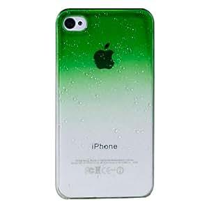 Patrón de la gota de agua del grano de la cubierta del caso del protector PC para el iPhone 4 4S Opción: Verde