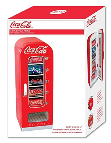 Koolatron CVF18 Retro-designed Thermoelectric Vending Fridge, Holds up to 10 Cans, Push Button Vending, Tall Window Display, Plugs Into Any Vehicle 12V Plug or Household Outlet, Red by Koolatron (Image #4)