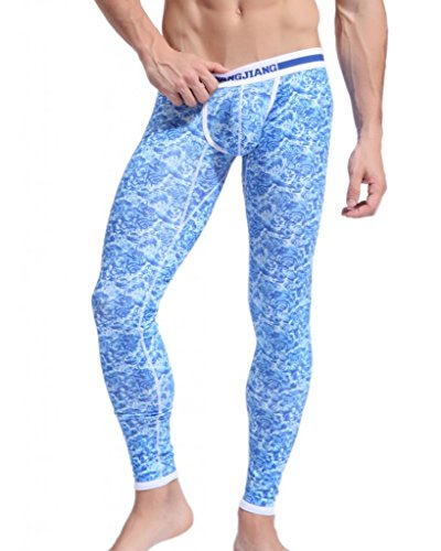 Men's Blue Floral Pattern Elastic Casual Sports Tight Pants with Closed Bottoms