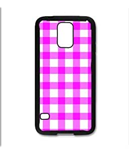 Samsung Galaxy S5 SV Black Rubber Silicone Case - Pink Gingham pattern