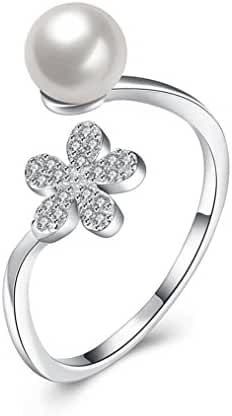 Sterling Silver Open Ring for Women with Cubic Zirconia Flower White Freshwater Cultured Pearl