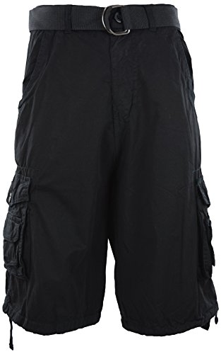 Mens Premium Cargo Shorts with Belt (8 Pockets 32-44 Size) (36, Black)