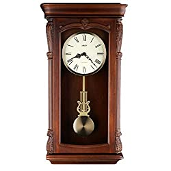 Musa 26-inch Solid Wood Walnut Pendulum Wall Clock Westminster Chime strike An Hourly, Night off - P00041