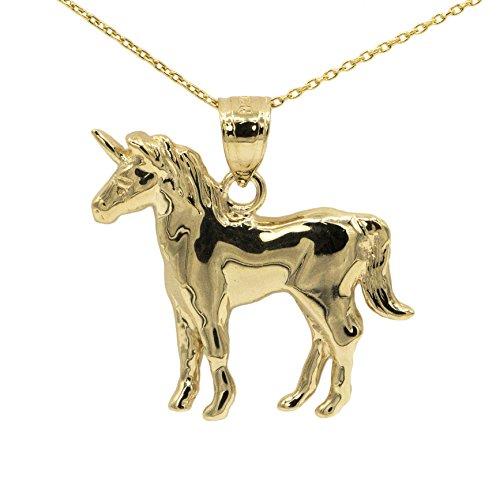 14k Yellow Gold Unicorn Pendant (No Chain) (Pendant Gold 14k Yellow Unicorn)