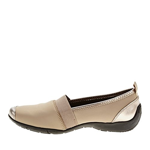 with paypal sale online shopping online Ros Hommerson Carol Women Round Toe Canvas Blue Loafer Pewter Stretch 9KTXaSJfeh