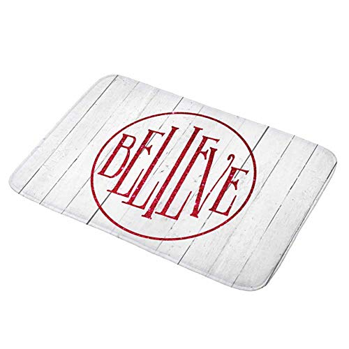 Believe Bath (Asamour Xmas Wood Bath Mat Vintage Wooden Background and Christmas Quotes Design Absorbent Doormat, Bathroom Rug Non Slip Backing Kitchen Floor Mat Carpet, Size 17.5''x29.5'',Red,White,Believe)