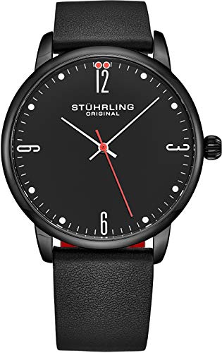 (Stuhrling Original Watch for Men Black Leather Strap with Red Contrast - Black Dial with White and Red Accents - Black PVD Case, 3997B Watches for Men Collection)