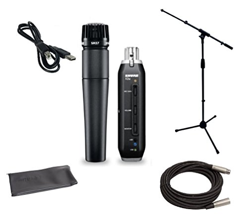 Shure SM57 USB Microphone Bundle with X2U XLR-to-USB Audio Interface, MIC Boom Stand and XLR Cable