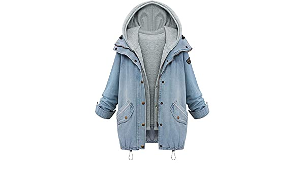 Amazon.com: Aancy Autumn Winter Fashion Women 2 Two Piece Set Denim Jacket Hooded Jacket Oversized Casual Basic Coats Outerwear Light Blue Abrigos,Sky Blue ...