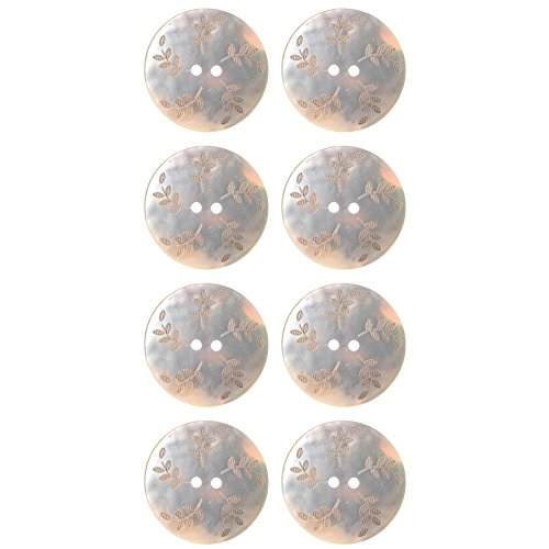 Akoya Shell Button with Laser -Leafs Designs - 2 Hole - 44Line - Natural from Mibo Buttons & Accessories