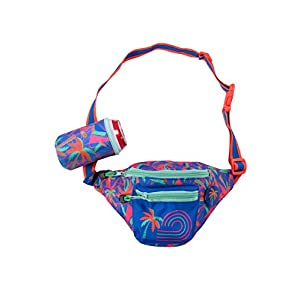 Fanny Pack Waist Pack with Detachable Drink Holder on Bag (Dayglow Tropical)