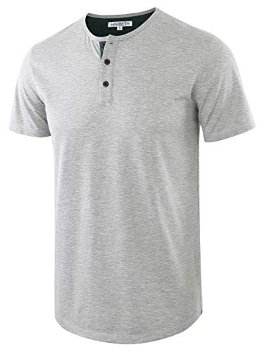 HARBETH Men's Casual Soft Athletic Regular Fit Short Sleeve Henley Jersey Shirt H.Gray/Dk.Green XL