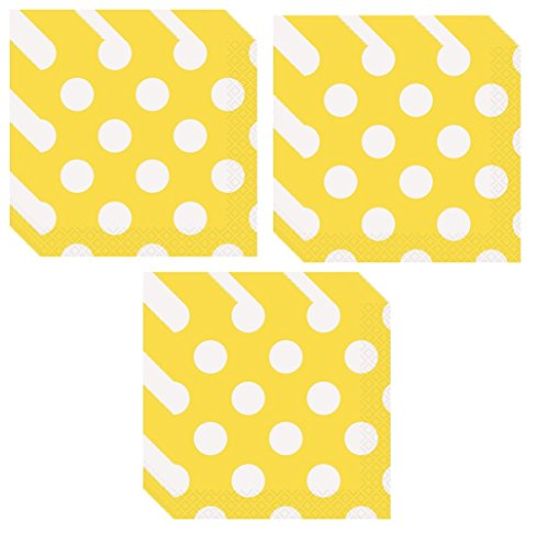 Esave Yellow Polka Dot Party Lunch Napkins - 48 Napkins -