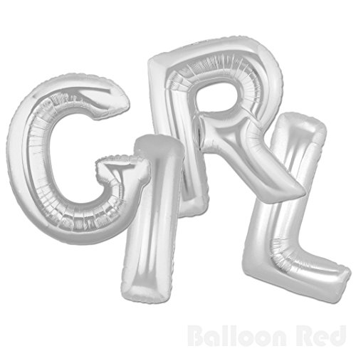 Homemade Disco Girl Costumes (40 Inch Jumbo Helium Foil Mylar Balloons Banner (Premium Quality), Glossy Silver, Letters GIRL)