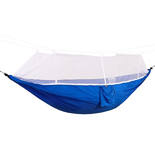Price comparison product image JiiJian Camping Hammock,  Portable Outdoor Double Mosquito Net Outdoor Travel Bed Lightweight Parachute Fabric Double For Travel Camping Swing Survival Hangmat Parachute