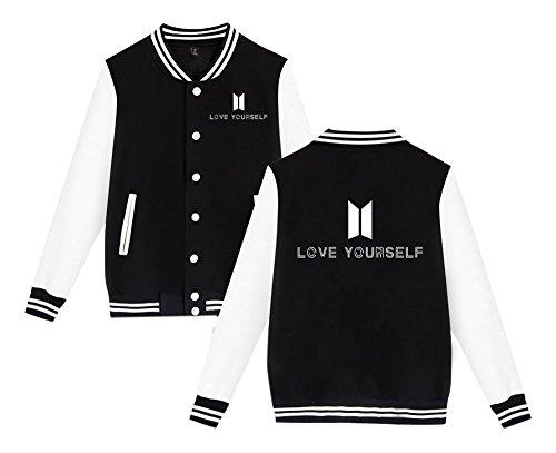 Gogofuture Femme Veste de Baseball BTS Love Yourself Sweat-Shirt Unisexe Bangtan Boys Blouson Kpop Manteaux Manches Longues Black8