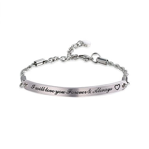 ivyAnan Jewellery Love Bracelet I Will Love You Forever and Always Bracelet Gift for Women Girlfriend Wife (Silver-Forver & Always)