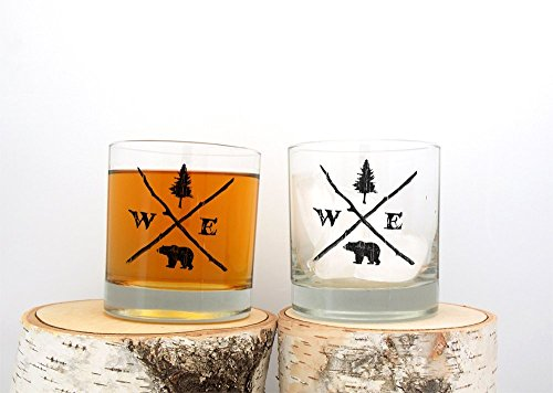 Rock Screen (Rock Glasses - Forest Compass - Screen Printed Whiskey Glasses - Set of Two 11oz.)