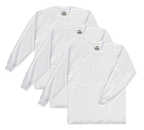 - Pro Club Men's Heavyweight Long Sleeve T-Shirt, White, Large-Tall (3 Pack)