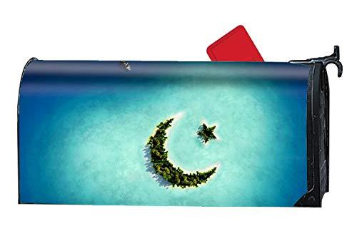 jiajufushi Magnetic Mailbox Cover - Fantasy Island Themed, Decorative Mailbox Wrap for Standard Size, Customized Design - Multicolor, 9 x 21 -