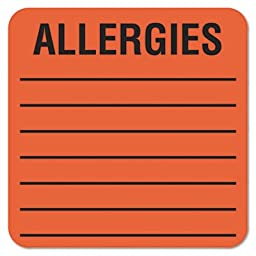 Tabbies 40560 Tabbies Medical Labels, ALLERGIES, 2 1/2 x2 1/2, FLRD, 500/RL