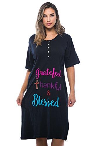 4361-116-3X Just Love Short Sleeve Nightgown / Sleep Dress for Women / Sleepwear,Black - Greatful (Sleepwear Dress)